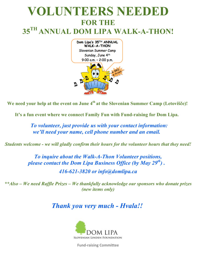 DL 2017 Walk A Thon VOLUNTEERS NEEDED LG